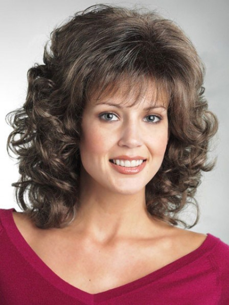 Synthetic Wavy Hair Shoulder Length Wig With Bangs