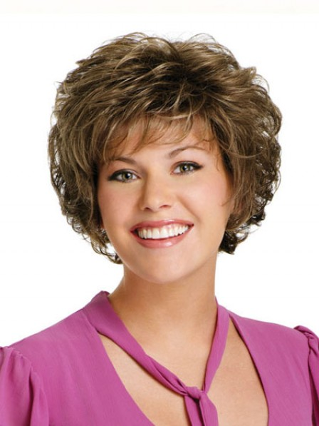 Heat Friendly Synthetic Hair Short Wavy Wig For Women With Bangs