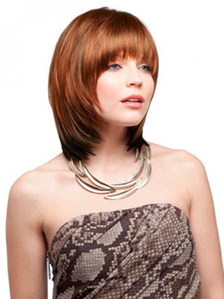 Layered Straight Synthetic Shoulder Length Hair Wig With Bangs