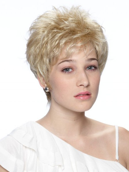 Cropped Wavy Capless Hair Wig Synthetic Women Wig