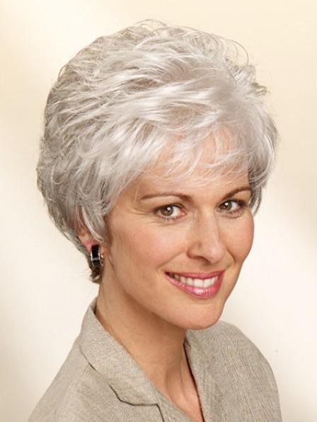 Classic Short Wavy Grey Hair Wig
