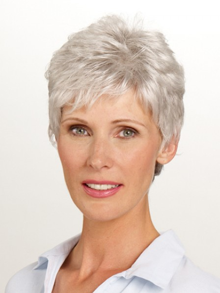Cropped Synthetic Grey Wavy Hair Style Full Wig