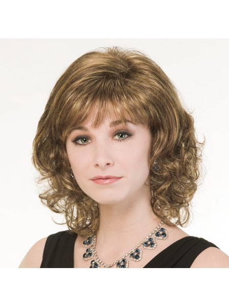 Wavy Hair With Bangs Synthetic Shoulder Length Wig