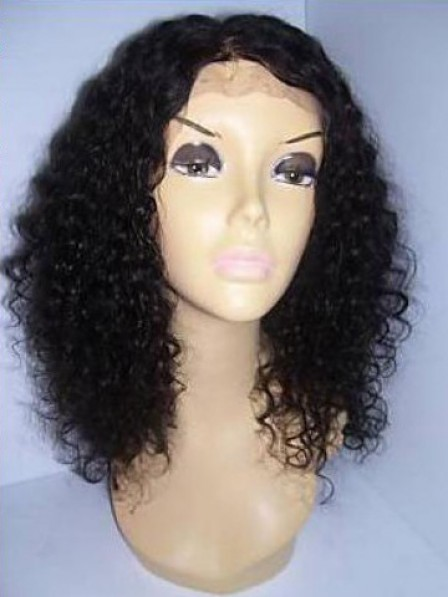 100% Human Hair Shoulder Length Lace Front Curly Wig