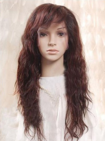 Full Lace Long Wavy 100% Human Hair Wig With Bangs