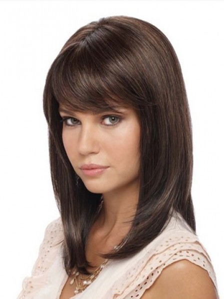 Lace Front Shoulder Length Straight Hair Wigs With Side Bangs