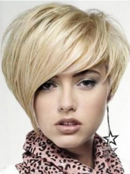 Lace Front Mono Top Short Straight Wig With Bangs