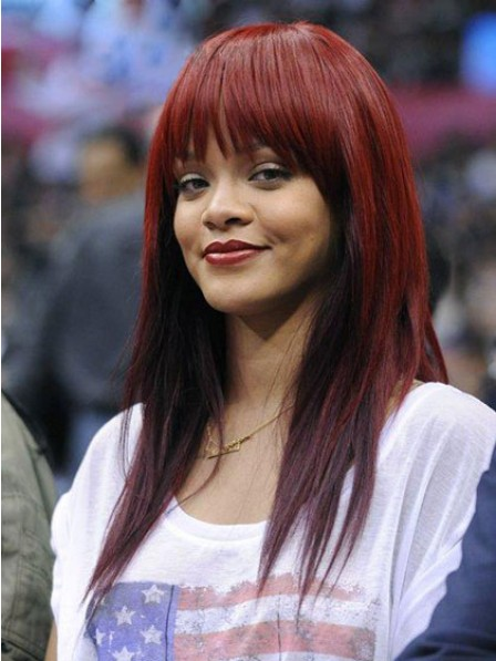 Red Straight Long Human Hair Women Wig