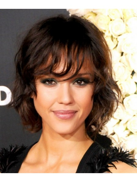 Jessica Alba Chin Length Hair With Bangs Synthetic Curly Wigs