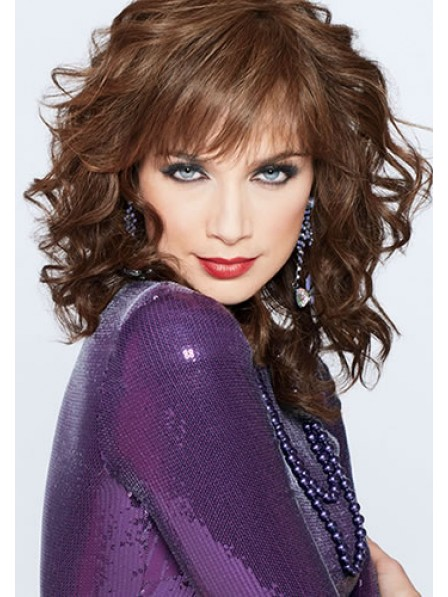 Joan Collins Wavy Shoulder Length Synthetic Wigs With Bangs