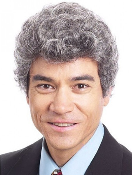 Grey Curly Lace Front Mens Hair Wig