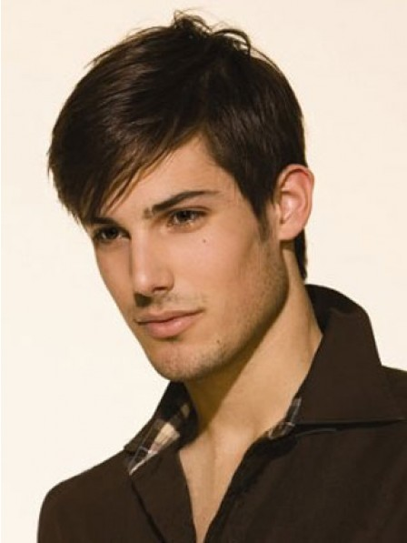 Lace Front Short Straight Hair Wig With Bangs For Men