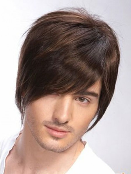 Full Lace Straight Mens Hair Wig With Bangs