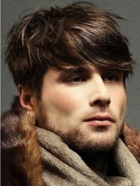 Natural Straight Lace Front Mono Top Wig With Bangs For Men