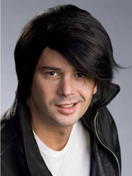 Synthetic Lace Front Mono Top Mens Straight Hair Wig With Side Bangs