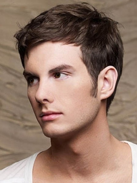 Lace Front Mono Top Short Wavy Mens Wig