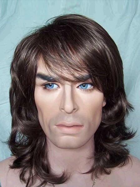 Shoulder Length Wavy Capless Mens Hair Wig With Bangs