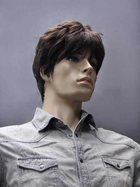 Short Straight Hair With Bangs Mens Synthetic Wig