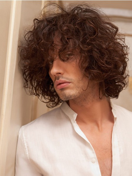Synthetic Hair Short Curly Hair Wig With Bangs For Men