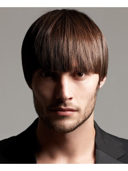 Short Straight Mens Wig With Bangs