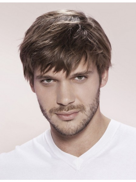 Synthetic Straight Mens Hair Wig