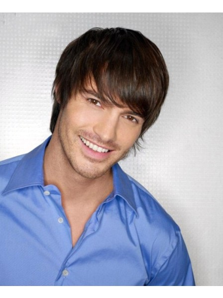 Short Straight Capless Mens Hair Wig With Bangs