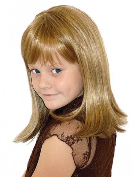 Shoulder Length Lace Front Mono Top Straight Girls Wig With Full Lace