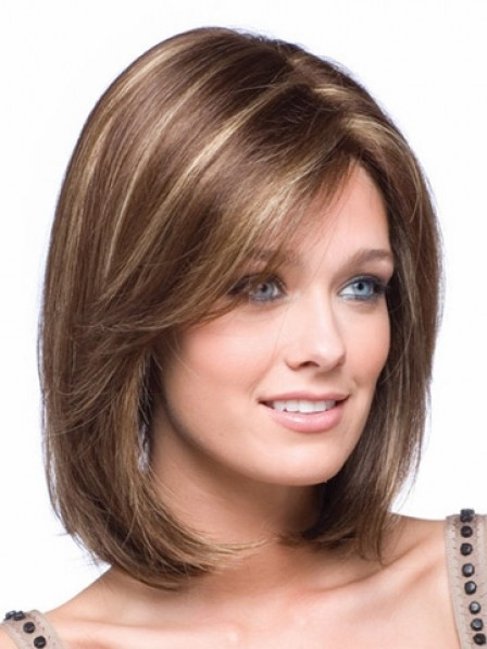 Shoulder Length Bob Straight Synthetic Lace Front Hair Wig