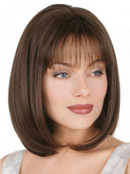 Straight Synthetic Shoulder Length Wigs With Bangs
