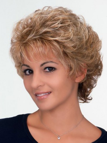 Short Curly Synthetic Wig With Bangs