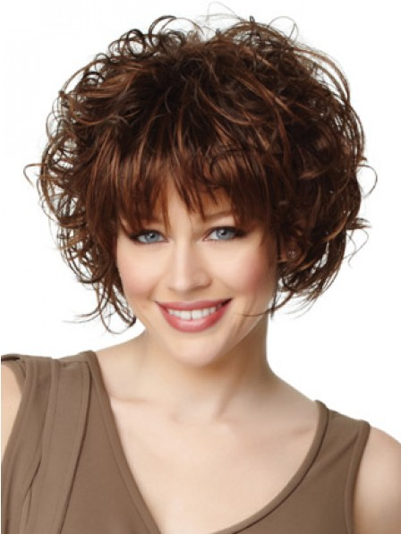 Women's Fluffy Wavy Hair Style Capless Wig With Bangs