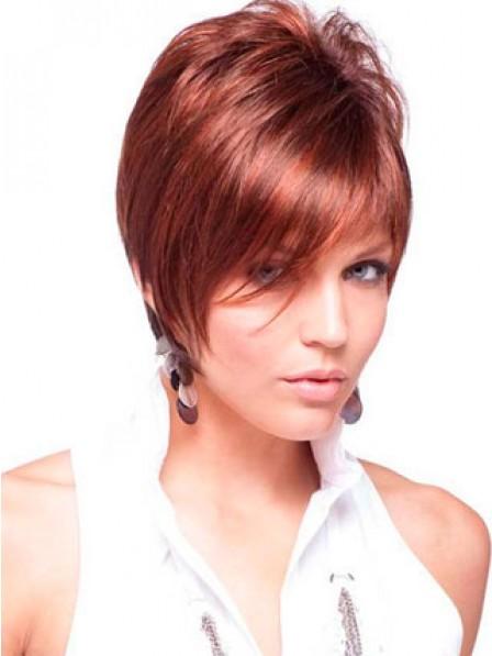 Short Natural Straight Human Hair Wig With Bangs