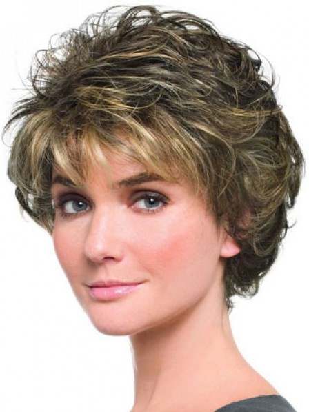 Short Curly Hair With Bangs Capless Wig