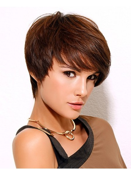 Straight With Bangs Women Short Synthetic Wig