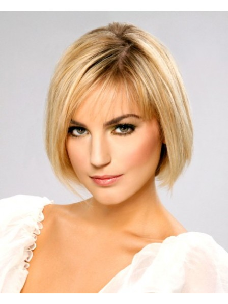 Chin Length Bob Straight With Bangs Lace Front Women Wig