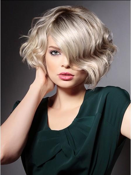 Synthetic Short Grey wavy Hair Wig