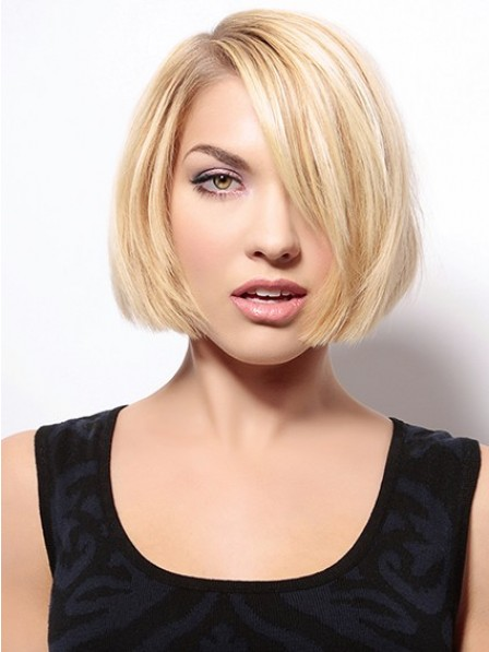 Remy Human Hair Chin Length Straight Lace Front Wig