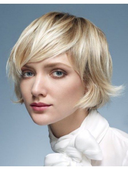 Short Curly Ladies Capless Wig With Bangs