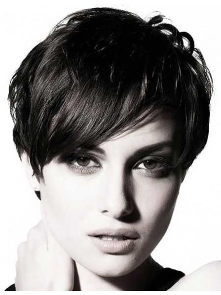 Human Hair Short Striaght Hair Wig With Bangs
