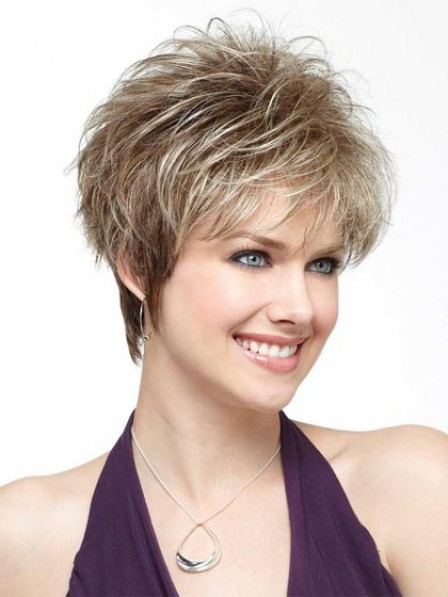 Short Fluffy Straight Synthetic Wig With Bangs