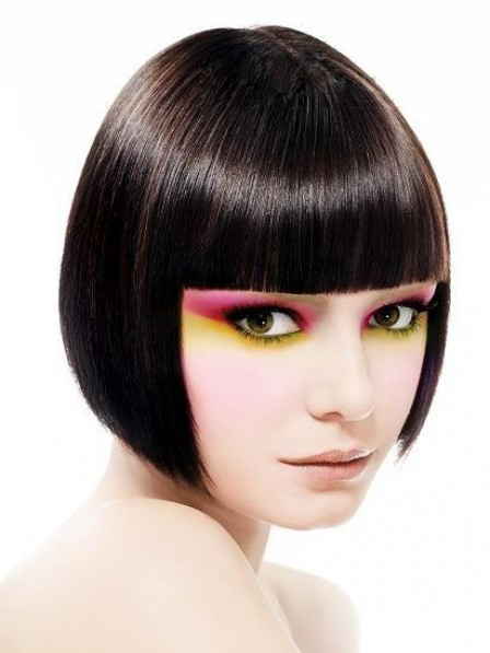 Synthetic Capless Short Wig With Full Bangs