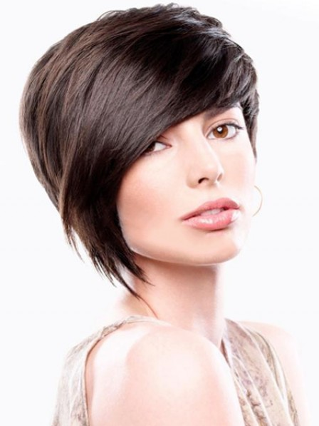 Capless Short Straight Human Hair Wig With Side Bangs