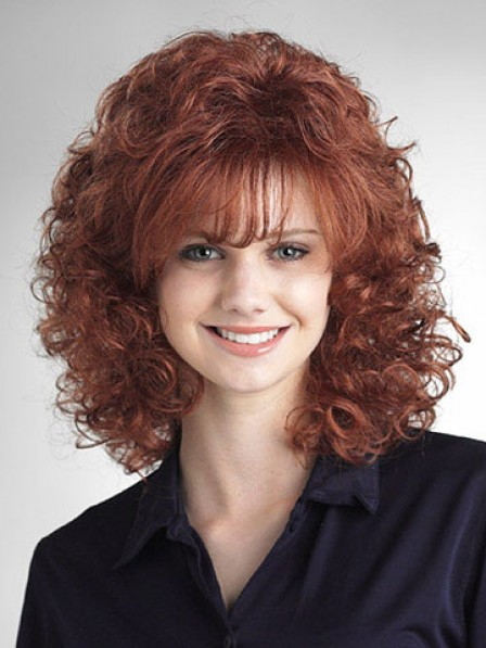 Shoulder Length Curly Capless Wig With Bangs