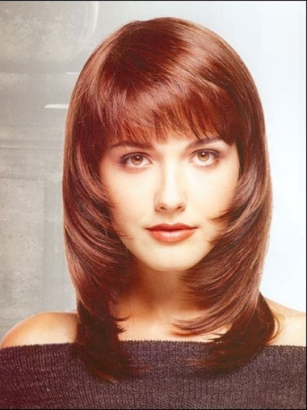 Layered Straight Capless Synthetic Women Wig With Full Bangs