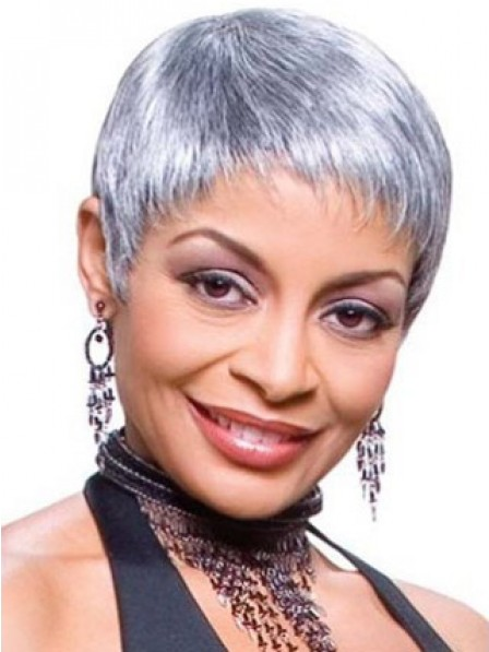 Cropped Pixie Cut Straight Synthetic Grey Wigs For Women