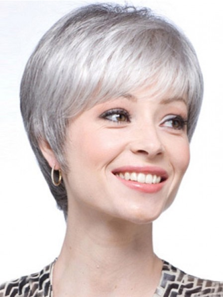 Synthetic Lace Front Straight Grey Wig With Bangs