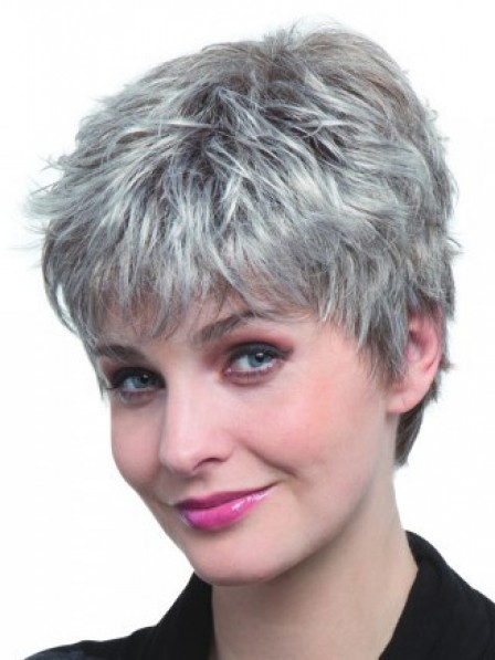 Short Grey Straight Women Wigs With Bangs