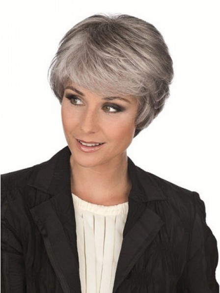 Short Wavy Grey Hair Style Wigs With Bangs