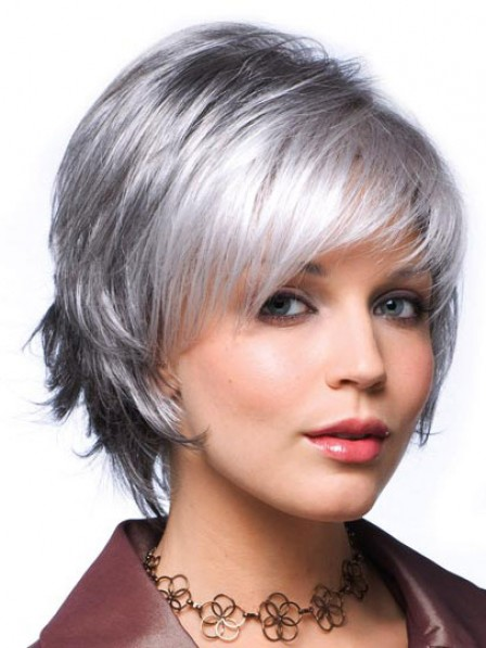 Short Grey Wavy Hair Wig With Bangs