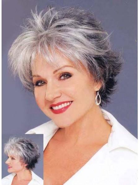 Short Layered Grey Capless Hair Wig